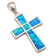 OP522A Stylish Cross Design Accessories Blue Fire Opal Silver Stamped Pendant