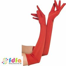 RED LONG 52cm LYCRA GLAMOUR GLOVES ladies womens fancy dress costume