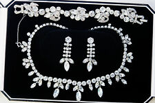 White Gold & Cubic Zirconia Baron Bridal 4 Set Necklace Bracelet Earrings Floral