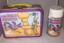 VINTAGE ROAD RUNNER LUNCHBOX & THERMOS 1970 TV Cartoon Looney Tunes Warner  Bros