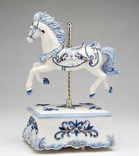 ♫ MUSIC BOX Porcelain BLUE CAROUSEL HORSE Vintage Style MUSICAL FIGURINE White