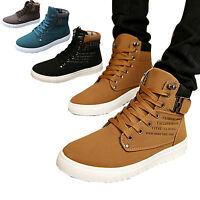 2016 Fashion Men High Top Sneaker Boot Casual Lace up Canvas Shoes Flat Trainers