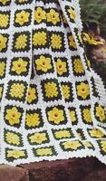 Fields Of Daffodils Spring Afghan Throw Blanket Vintage Crochet Pattern