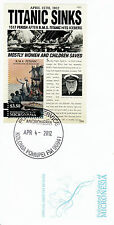 Micronesia 2012 FDC Titanic 1v S/S Cover RMS Sinking Ships Iceberg Boats