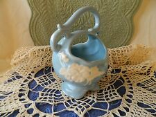 Vintage Weller Pottery Blue Basket with White Flower