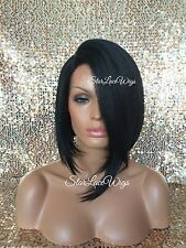 Asymmetrical Short Straight Lace Front Bob Wig Left & Right Part Heat Safe #1b
