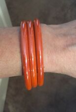 3 Vintage Brilliant Orange Glass Bangle Bracelet 8""
