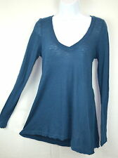Free People Womens Small Blue Sappire V-Neck Anna Tee Top T-shirt Tunic NEW
