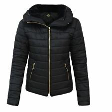 Ladies Womens High Collar Quilted Puffer Hooded Bubble Women Padded Coat Jacket