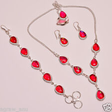 Pink shiny opal necklaces bracelets earrings ring set .925 silver free shipping