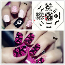 Moustache Lèvres Nail Art pochoir Stamping plaque Template Ongle decoration QA28