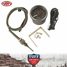 SAAS Exhaust Temp Pyro Gauge Black Face 0-900 52mm Multi Colour + Sender & Kit