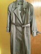 Worthington Womens Size 10 Green Removable Lining Belted Long Trench Coat Jacket