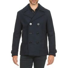 DIESEL W-SAMI NAVY WOOL BLEND PEACOAT SIZE L 100% AUTHENTIC