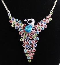 New Fashion plating 14k  colorfull crystal the peacock necklace  k309