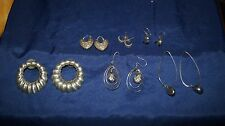 6 Lot 925 Sterling Silver Earrings Hoops Vintage Mexico