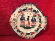 Beautiful Vintage Hand Painted HB Quimper Fish Form Majolica Faience Plate,ff507