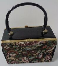 True Vintage elbief england 1930's tapestry and patent two sided black handbag