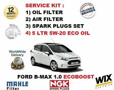 FOR FORD B-MAX B MAX 1.0 ECOBOOST 2012-  OIL AIR FILTER + SPARK PLUGS + OIL KIT
