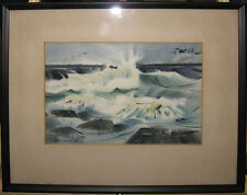 Robert Eric Moore 1963 Abstract WC of Surf and Rocks Listed Maine Artist