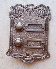 Geschenknet Antik Messing Klingel 2 Jugendstil Klingelschild Klingelplatte  K21A