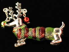 NWT CHRISTMAS REINDEER WEENIE WIENER DACHSHUND DOG PUPPY PIN BROOCH JEWELRY 2""