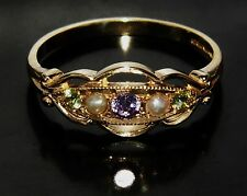 SUFFRAGETTE 9 CT GOLD AMETHYST PERIDOT & PEARL ETERNITY RING size Q