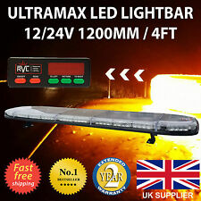 "LED Light Bar 1200mm  48"" 12v 24v Amber Flashing Strobe Beacon Recovery Lights"