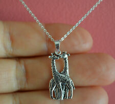 925 Sterling Silver Kissing Giraffe Charm Necklace - Animal Giraffe Necklace