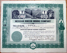 1911 Stock Certificate: 'Mexican Rincon Mining Company'