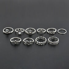 10Pcs Vintage Gold Silver Knuckle Carved Crystal Gem Elephant Moon Midi Ring