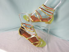 Bright Gold Sandals Metallic Gladiator Size 7B Double Buckle Man Made New in bag