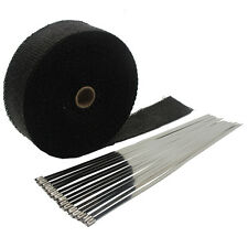 "Black 2""X50' Motorcycle Exhaust Heat Wrap for Header Mufflers Pipe with 15 ties"