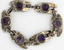 Antique C. 1940 Art Deco Sterling Silver Taxco Mexican Amethyst Estate Bracelet!