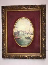 Vintage Old Master Print In Carved Wood Picture Frame w/ Velvet