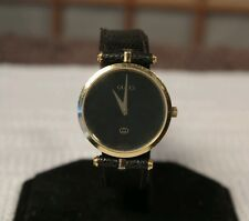 Gucci 2000L Watch Womens Stacked Elegant Black 18K Gold Plated Luxury Swiss