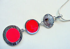 ACCESSORIZE SILVER NECKLACE – 3 PART RED & SILVER LONG DETAILED PENDANT – NEW
