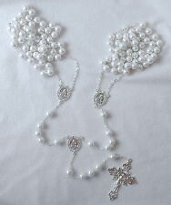 White Glass Pearl Silvertone OR Goldtone Catholic LASSO WEDDING ROSARY -NEW-