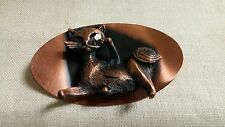 Vintage Textured Solid Copper Embossed Siamese Cat Oval Brooch Pin
