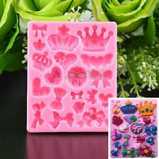 Silicone Crown Bowknot Christmas Fondant Mold Cake Chocolate Candy Baking Mould