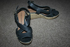 Ladies Navy Blue George Shoes Size 38 Uk 5 Strappy Sandals Wedge Platforms