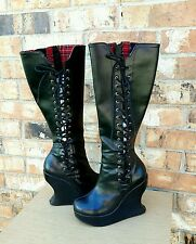 Demonia Boots Lace up Sexy Black Platform Gothic Steampunk Heavy Metal Boots