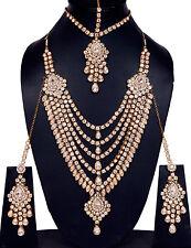 Gold Tone Long Set Necklace Wedding Women Jewelry Bridal Bollywood Kundan White