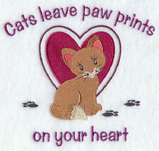 CAT PAW PRINTS HEART SET OF 2 HAND TOWELS EMBROIDERED by laura
