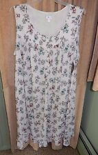 Women's Plus Size 4X 26/28  Soft Stretch Knit Nightgown -Sleeveless, Floral NEW