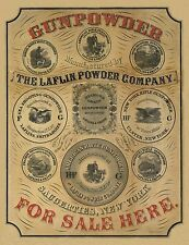 "1850 Gun Powder advertisement, Art Print, Hunting, Guns, antique decor, 28""x20"""