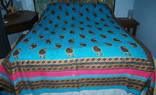 New Double Bedspread Throw - Hippy Fairly Traded India Gold Flowers Mandala