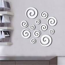 Shining Tone 3D Mirror Effect Wall Sticker Round Circle Decal Mural Home Office