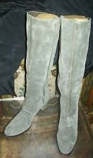 Vintage GOLO Tall, Pearl Gray Suede Boots; Sz 8.5; High Heel; Knee-High /Zippers