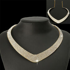 Fashion Jewellery Chain Pendant Crystal Choker Chunky Statement Bib Necklace